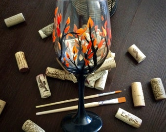Fall Patio Wine Glass