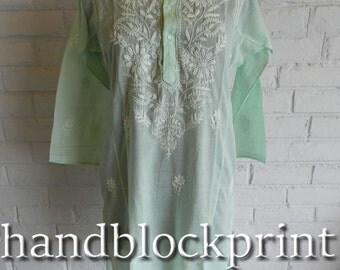 Women's Plus Size Green Embroidered Long Tunic,Summer Tunic,Beach Tunic,Bohemian Tunic,India Tunic,Maxi Dress,Night Dress,Wedding Dress,Top