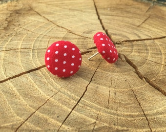 Red fabric with white polka dot button earrings