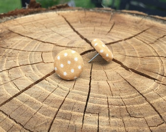 Tan with white polka dot fabric button earrings