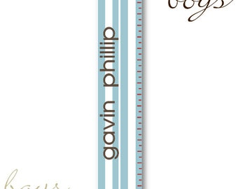 Personalized Boys Growth / Height Chart - Blue Stripes