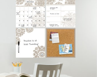 "Dry Erase Calendar, Weekly Planner, Message Board and Corkboard - Wall Organization Kit, ""Calcutta"" Design"