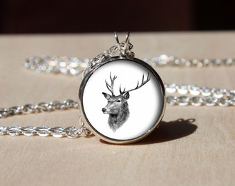 Handmade Deer Necklace, Vintage Deer , Glass dome Pendant, gift for Her Him, nekel free jewelry