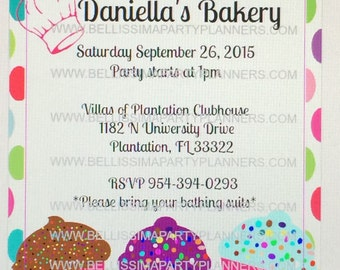 Cup Cake/ Bakery Party Invitations