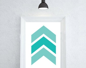 Turquoise Art, Chevron Art Print Geometric, Turquoise Wall Print, Chevron Modern Art, Geometric Print, Shape Print, Modern Art For Home