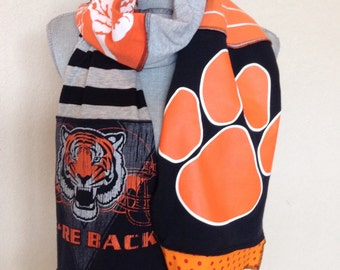 Valley Tigers Spirit a Scarf, West Des Moines Valley Tigers Upcycled Tshirt Scarf, VAL12