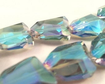Chinese crystal Nugget Faceted Beads    Veridian Green    18x15mm    6 pieces