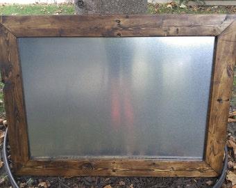 Magnetic Board, Rustic Wedding Decor, Rustic Magnetic Board, Large Framed Magnetic Board, Kitchen, Menu Board, Metal Board, Handmade