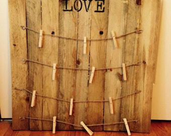 Love Clothes Pin Picture Hanger