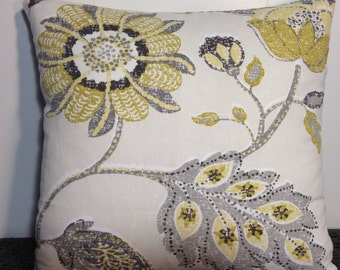 Decorative Pillow Cover Throw Pillow Yellow Grey Flower