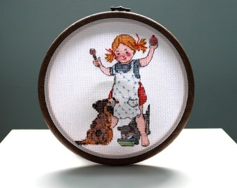 Girl, Puppy and Kitten Nursery Decor Cross Stitch | Framed in 6 Inch Embroidery Hoop / Gifts under 20 \ Gifts under 25 / Baby Shower Gift
