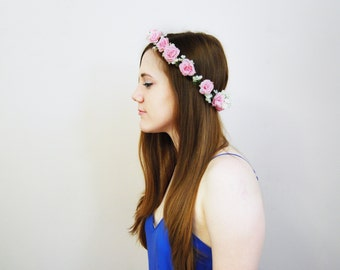 Light Pink and White Flower Crown