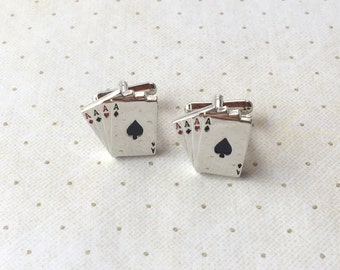 Four Aces Cufflinks Las Vegas Cards Cuff Links in Silver