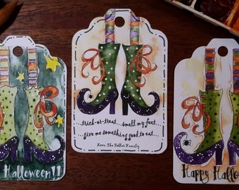 Halloween Gift Tags; Trick or Treat; Witches Feet Gift Tags; Gift Card; Happy Halloween Gift Card