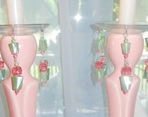 Pink Ice, Upcycled Bobeches with Vintage Necklaces, Candle Wax Catchers