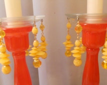 Peaches and Cream, Upcycled Bobeches with Vintage Necklaces, Candle Wax Catchers