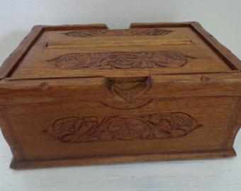 Very Nice Hand Made, Hand Carved Wooden, Indian, Cigarette Dispenser, Vintage, Indian Wooden Cigarette Dispenser,