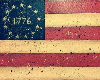 1776 USA Wood Flag, Rustic American flag sign, primitive flag sign, USA flag wood sign