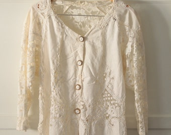 Vintage white cotton lace top - Sz M