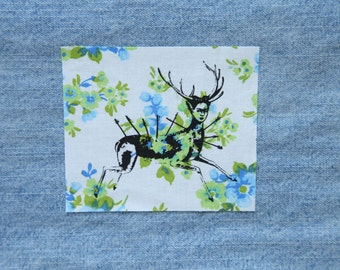 Frida Kahlo Self Portrait as a Wonded Deer Feminist Green and Blue Floral Silkscreen Sew On Patch
