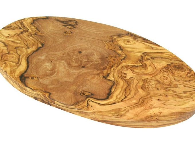 Cutting board oval made of olive wood 30 x 16 cm solid unique hand work