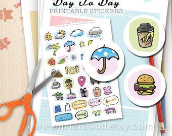 DAY TO DAY Printable Sticker, Daily Lifestyle, Weather Food Travel Cute Mini Clipart, Paste on Diary Planner Journal Notebook, Chibi Doodle