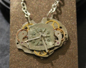 Heart shaped steampunk necklace