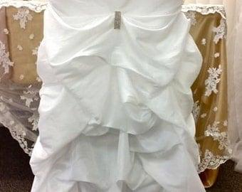 Wedding Chair Covers, Ruffled Wedding Chair Covers Bustled, Fancy Wedding Chair Covers Bustled, Ruched Chair Covers