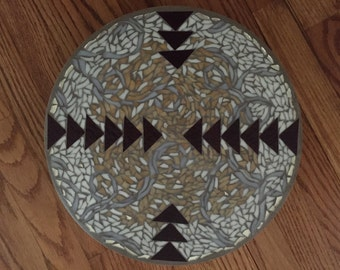 Handcrafted mosaic on lazy susan - tribal/swirl design. Perfect gift for a wedding & great conversation piece!!