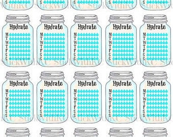 PRINTABLE Mason Jar Hydrate Stickers / Planner Stickers / Weekly water tracker/ Drink Up / Instant Download / PDF