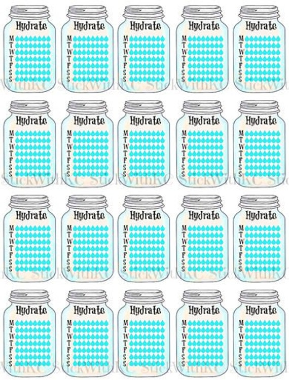 PRINTABLE Mason Jar Hydrate Stickers for planners, week water stickers ...