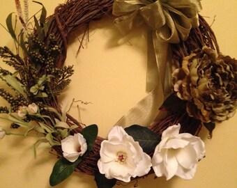Green & white magnolia wreath