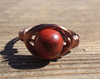 WIRE WRAPPED RING Red Jasper  in Antiqued Copper Handmade
