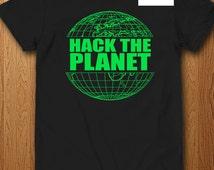 Hack The Planet T Shirt Hackers Film Shirt Movie Hacking L33t Internet Developer Coder Troll Hacking Password Funny Geek Gift Video Games