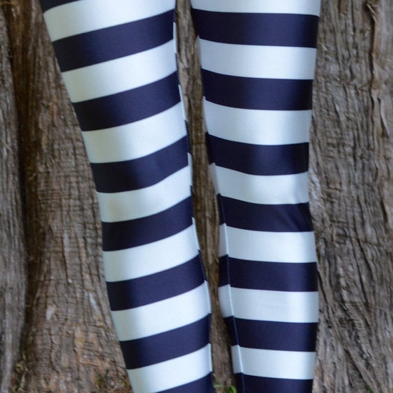Striped Leggings Black and White Yoga Pants by SeamSiren on Etsy