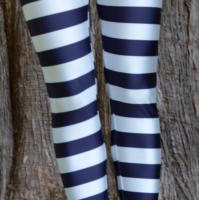 Striped Leggings Black and White Yoga Pants Horizontal