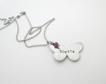 Personalized Butterfly Necklace with Birthstone - Girls Necklace - Personalized Jewelry - Hand Stamped - Girls Name - Personalize - Custom