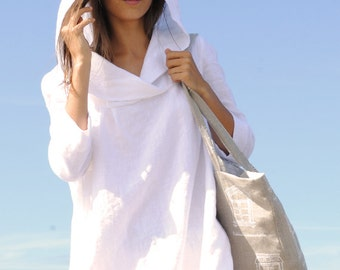 Hooded white linen tunic, linen tunic with sleeves, casual linen tunic, women linen clothing, summer linen tunic