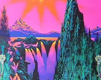 Vintage 1975 Psychedelic~GARDEN OF EDEN~Blacklight Poster 11x17