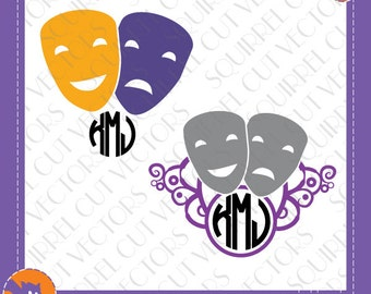 Theatre Monogram Frames SVG DXF EPS Cutting files