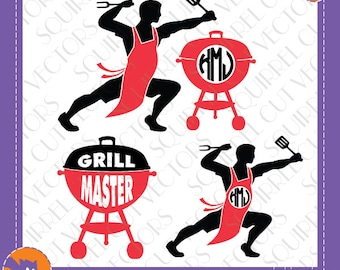 Funny Grill Monogram  Frame SVG DXF EPS Cutting files