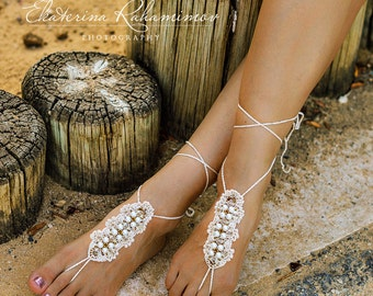 Beige Beach Wedding Beaded Crochet Barefoot Sandals, Beach Party Shoes, Beach Wedding Shoes, Summer Crochet Shoes, Beach Party Sandals