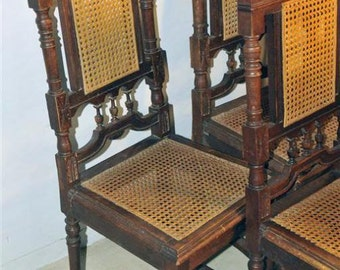 Good Set Of 6 French Henry II Oak Chairs With Cane Seats, Late 19th Century #
