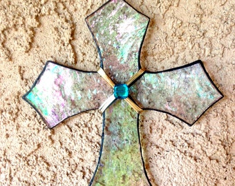 Stained Glass Clear Cross