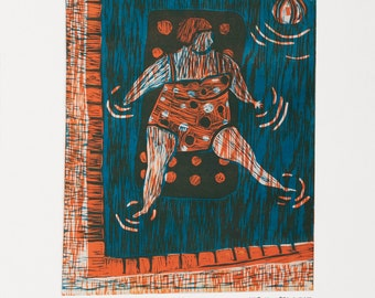 Russian lady at the sea / linocut