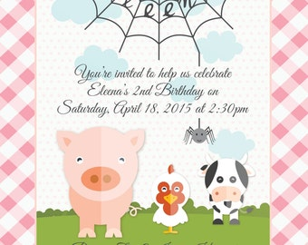 Charlotte's Web Birthday Invitation, Envelope, Candy Bar Wrapper and Thank You Tags - Digital - DIY