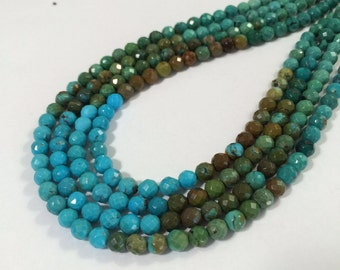 Nacozari with Chinese turquoise, 5.5-6mm faceted rounds, 16 inch strand TP136-a