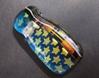 Fused Dichroic Art Glass Stars Slider focal Bead Pendant By Victoria