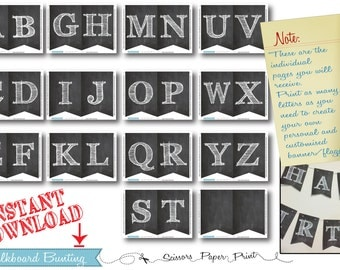 Chalkboard Party Bunting flagging, Full alphabet, chalk retro sneaker birthday party decorations, Mix & Match, INSTANT DOWNLOAD, all letters