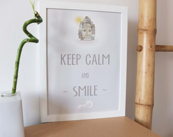 Poster illustration quote Keep Calm and Smile - Light green